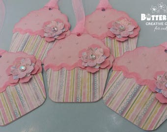 Cupcake shape gift tags. 5 pack.