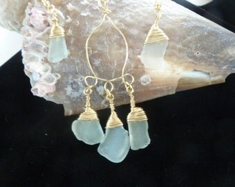Very light aqua sea glass trio necklace with earrings set