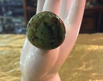 Large Green Turquoise and Sterling Silver ring