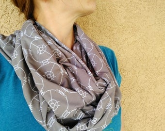Resist/Transform Infinity Scarf/Flat Scarf - Dove Gray