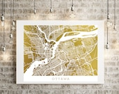Ottawa Gold Foil Art Map, Gold Print Street Map with Superior Accuracy, Real Gold Foil on 65lb cardstock, Ontario, Canada Nation's Capital