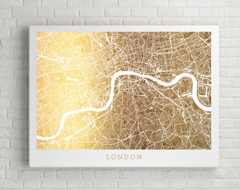 London Map Gold Foil Art, Urban Art Gold Print Street Map, Wall Decor with Real Gold Foil on 65lb cardstock, England