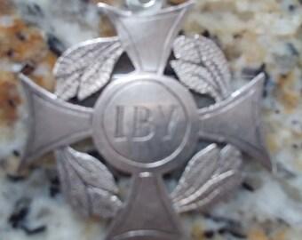 Antique Silver Maltese Cross Medal/Pendant 1856