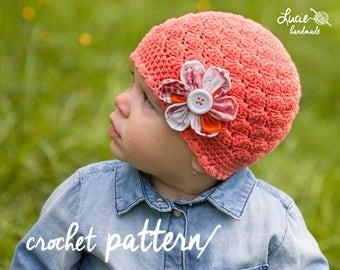 Crochet Hat PATTERN No.10 - Spring Hat Crochet Pattern, Autumn Hat, Flover hat, Crochet pattern hat