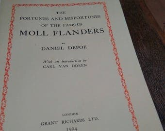 The Fortunes and Misfortunes of the Famous Moll Flanders Daniel Defoe Vintage 1924 book from England,, old blue classic