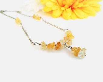Citrine pendant necklace, small yellow pendant, spiritual jewelry, healing crystals and stones, raw citrine gemstones, solar plexus healing