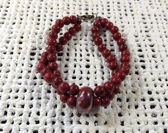 Red and brown double stranded bracelet