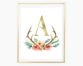 Antler Art, Deer Antler, Nursery Watercolor, Nursery Prints, Nursery Decor Girl, Baby Shower Girl, Floral Printable, Boho Nursery Decor