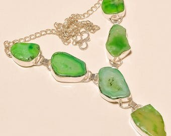 """Breathtaking Green Agate Druzy Statement Necklace 6 Custom Slices and 925 Sterling Silver Handmade 17-18""""  32grams"""