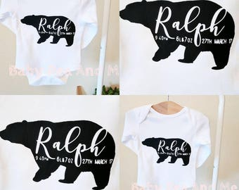 personalised baby vest, birth announcement, baby shower gift, baby gift, new baby gift, baby bear vest, birthday gifts, new mum gifts