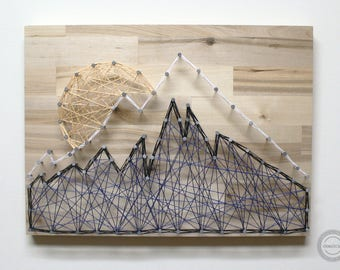 Mountain Peak String Art - Nature String Art, Mountain String Art, Scenic String Art, Mountain Valley String Art, Mountain and Sun String