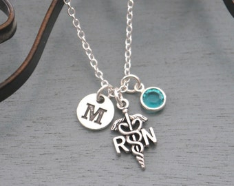 RN Necklace, Personalized RN Necklace, Silver RN Necklace, Initial Necklace, Registered Nurse Necklace, Registered Nurse Gifts, Custom