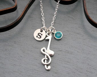 Music Necklace, Personalized Music Necklace, Treble Clef Initial Necklace, Music Note Necklace, Music Graduate Gifts, Band Gifts, Custom