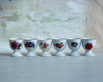 Vintage 1970s Porcelain Flower Eggcups - Set of 6