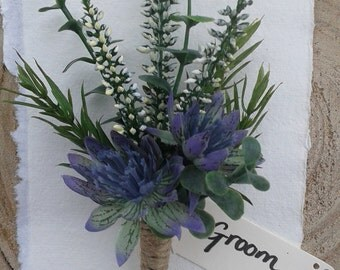 Scottish white heather artificial buttonhole with rustic twine or organza finish