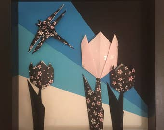 Origami Art - Winter tulips
