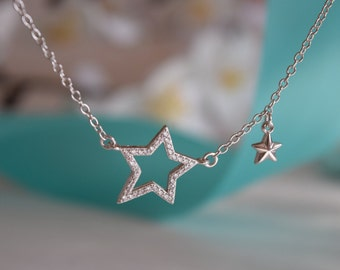 Star Sterling Silver Necklace, Sterling Silver Necklace, Silver Necklace, Star Necklace, .925 Necklace, Gift For Her