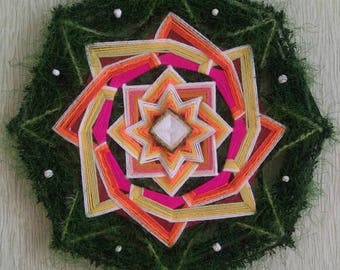 The Enchanted Forest - decorative woven mandala / ojo de dios - dia 28.5 cm