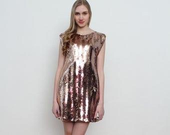 Vintage Gold Black Sequin Mini Dress/ Size 40 UK 12