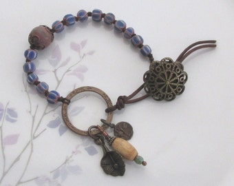 Chevron beaded bracelet, charm bracelet