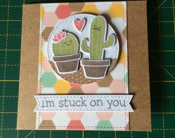 Stuck on You, handmade cactus valentines card