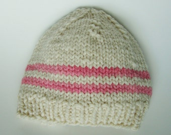 Handknit American Nontoxic Natural Merino Wool Chunky Baby Hat - 6-9 months White and Pink Stripes