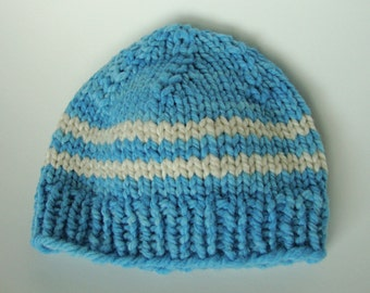 Handknit American Nontoxic Natural Merino Wool Chunky Baby Hat Beanie - Newborn/0-3 months Blue and White Stripes