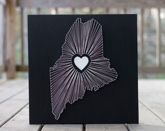 Heart of Maine String Art - Black, Silver and White