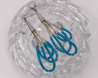 Sterling Silver & Turquoise Vintage Artisan Pierced Wire Earrings