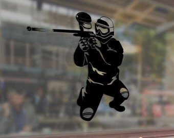 Paintball Man Shooter Vinyl Stickers Funny Decals Bumper Car Auto Computer Phone Mobile Laptop Wall Window Glass Skateboard Snowboard Helmet