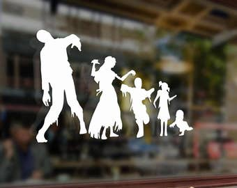 Zombie Dead Family Stick Figure Dad Mom Children Vinyl Stickers Funny Decals Bumper Car Auto Computer Laptop Wall Window Glass Skateboard