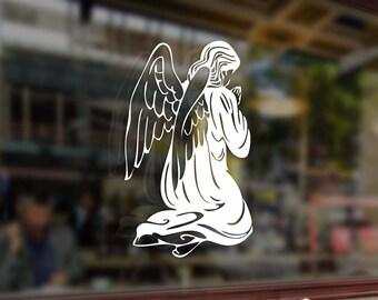 Guardian Angel Prays Vinyl Stickers Funny Decal Bumper Car Auto Laptop Wall Window Glass Skateboard Snowboard Helmet Macbook