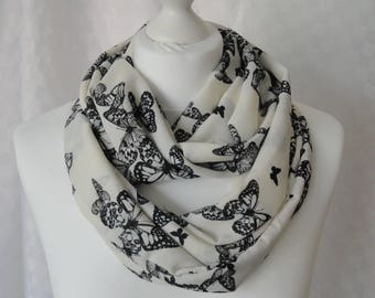 Butterfly print infinity scarf, Circle scarf, Butterfly scarf, Print scarf, Scarf for her, Lightweight scarf, Fashion scarf