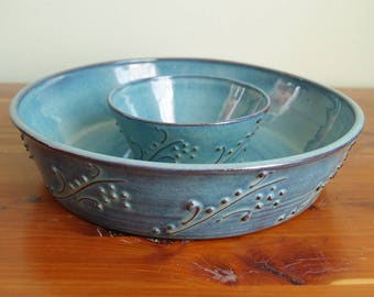 Turquoise Blue Chips and Dip Bowl- Handmade Pottery-Party Platter- Alia Levi- Appetizer Bowl- Stoneware Serving
