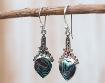 Abalone Earrings ~ Shell ~ Lightweight ~ Everyday ~ Casual ~ Basic ~ Simple ~ Colorful ~ Natural ~Organic ~Dangle ~Sterling Silver 925 ME013