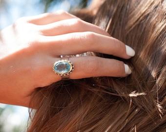 Blue Topaz Ring ~ Statement ~ Gemstone ~ Handmade ~Faceted ~ Sterling Silver 925 ~Solitaire ~Gold ~November Birthstone ~Bohemian ~Gift~MR056