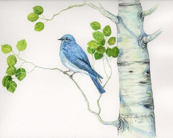 Mountain Bluebird (This is a one of a kind Original Watercolor)
