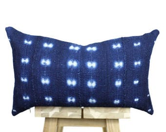 Deep Indigo Mudcloth Pillow Cover, African Mud Cloth, Indigo Mud Cloth Pillow | 'Amal'