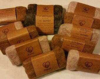 Felted soaps - alpaca fiber felted - soft felted hand cut  natural soaps - 1, 3, 6 or 12 - quantity discount - great gift or gift set