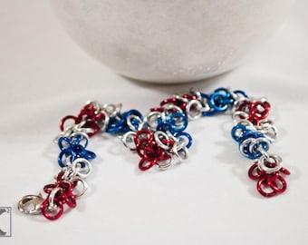 Red White & Blue Shaggy Bracelet, Patriotic, Military, USA