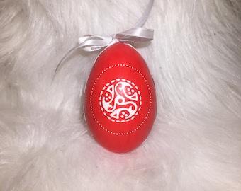 Carved Red Easter Egg With Celtic Symbol