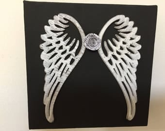 Mixed Media Wooden Angel Wings