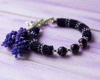 Bracelet dark, Beaded Crochet, Bracelets Muscari, Jewelry Saturated violet, Natural Pearl, Round Bangle, Beadwork Gift, Night Summer, One