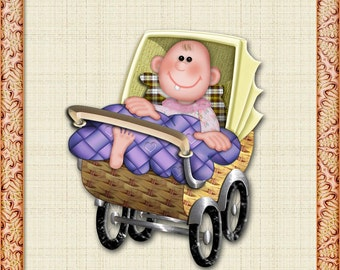 Image baby in the stroller PNG (transparent background)