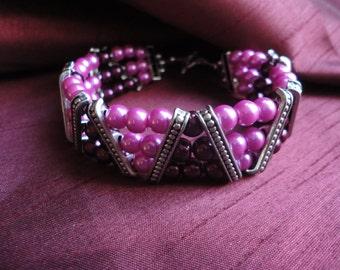 Shades Of Pink Multi Strand Bracelet - B10