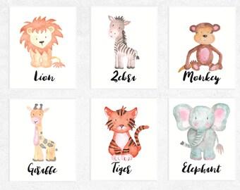 Safari Animals Printables | 6 Set | Elephant | Lion | Monkey | Giraffe | Tiger | Zebra | Nursery | Watercolor | Baby Art