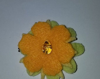 yellow and green flower hair pin