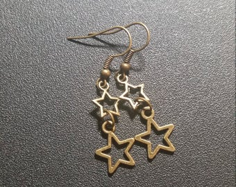 Gilded Gold Double Shooting Star Dangle Earrings