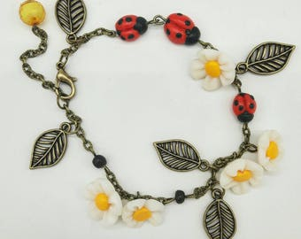 Ladybirds polymer clay bracelet