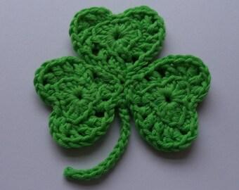 St Patrick's Day Hand Crochet Shamrock Brooch/Pin/Badge